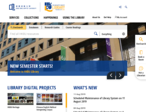 Screenshot of the new Library website homepage