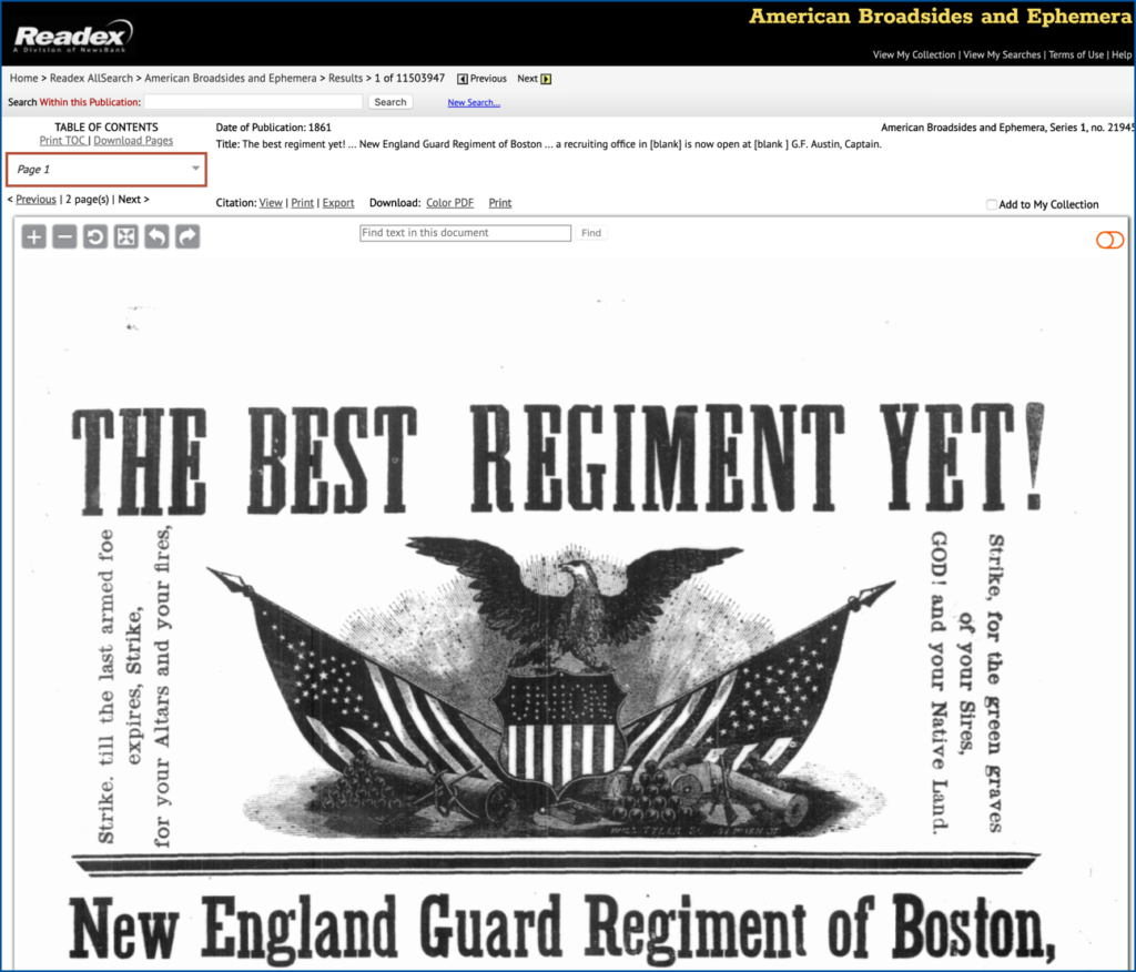 Screenshot of the American Broadsides and Ephemera database
