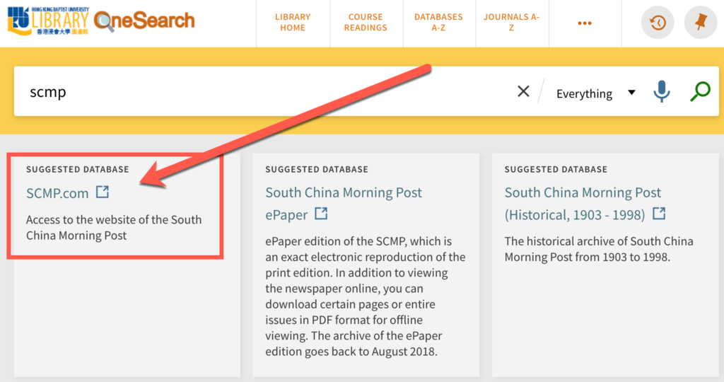 Screenshot showing link to SCMP.com on OneSearch results page