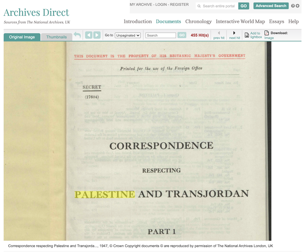 Screenshot of Confidential Print: Middle East