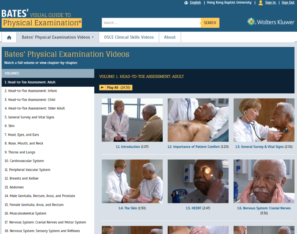Bates visual guide to physical examination screen capture